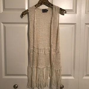 Long Crochet Fringe Vest